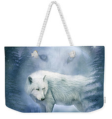 Moon Spirit 2 - White Wolf - Blue Weekender Tote Bag