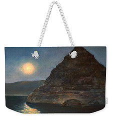 Weekender Tote Bag featuring the painting Moonlight On Pyramid Lake by Donna Tucker