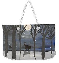 Moonlight On Snow Weekender Tote Bag