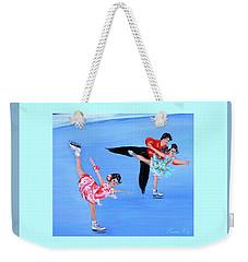 Moonlight Skating. Card Weekender Tote Bag by Oksana Semenchenko