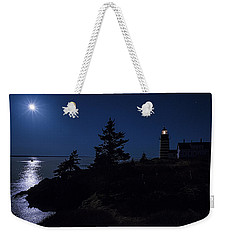 Weekender Tote Bag featuring the photograph Moonlit Panorama West Quoddy Head Lighthouse by Marty Saccone