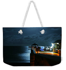 Weekender Tote Bag featuring the photograph Moonlit Pier by Laura Fasulo