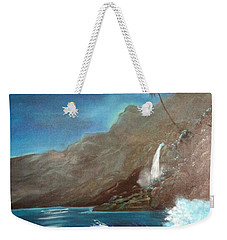 Weekender Tote Bag featuring the painting Moonlit Wave by Jenny Lee