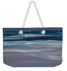 Weekender Tote Bag featuring the painting Moonlit Waves At Dusk by Jani Freimann