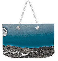 Weekender Tote Bag featuring the photograph Moonrise Over The Mountain by Don Schwartz