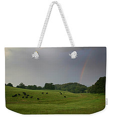 Weekender Tote Bag featuring the photograph Mooove Over For Rainbows by Ben Shields