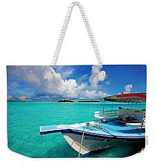 Moored Dhoni At Sun Island. Maldives Weekender Tote Bag