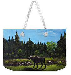 Weekender Tote Bag featuring the painting Moose by Bozena Zajaczkowska