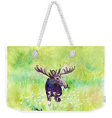 Weekender Tote Bag featuring the painting Moose In Flowers by C Sitton