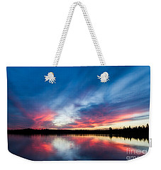 Moose Lake Sunset Weekender Tote Bag
