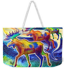 Weekender Tote Bag featuring the mixed media Moose Mystique by Teresa Ascone