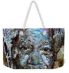 Weekender Tote Bag featuring the painting Morgan In Blue by Laur Iduc