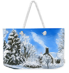 Weekender Tote Bag featuring the painting Morning After The Snowstorm  by Jean Pacheco Ravinski