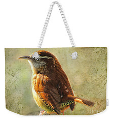 Morning Carolina Wren Weekender Tote Bag by Debbie Portwood