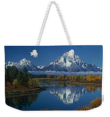 Morning Cloud Layer Oxbow Bend In Fall Grand Tetons National Park Wyoming Weekender Tote Bag