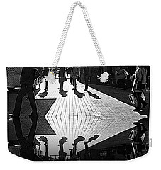 Weekender Tote Bag featuring the photograph Morning Coffee Line On The Streets Of New York City by Lilliana Mendez
