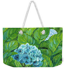 Weekender Tote Bag featuring the painting Morning Hydrangea by Jingfen Hwu