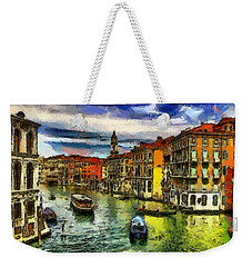 Weekender Tote Bag featuring the painting Beautiful Morning In Venice, Italy by Georgi Dimitrov