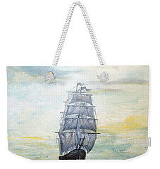 Weekender Tote Bag featuring the painting Morning Light On The Atlantic by Lee Piper