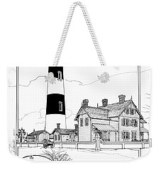 Weekender Tote Bag featuring the drawing Morris Island Lighthouse by Ira Shander