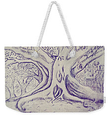 Weekender Tote Bag featuring the drawing Morton Bay Tree by Leanne Seymour