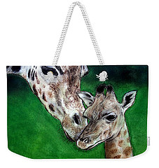 Mother And Baby Giraffe Weekender Tote Bag