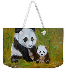 Mother And Baby Panda Weekender Tote Bag by Jenny Lee