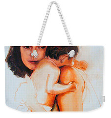 Weekender Tote Bag featuring the painting Mother And Child by Greta Corens