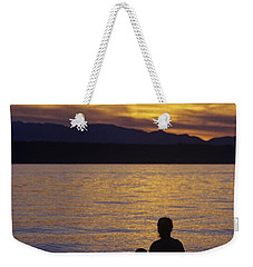Mother And Daughter Holding Each Other Along Edmonds Beach At Su Weekender Tote Bag