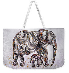 Mother Elephant Weekender Tote Bag