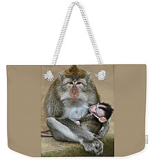 Mother Macaque And Her Baby Weekender Tote Bag