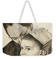 Weekender Tote Bag featuring the painting Mother's Love by Tamir Barkan