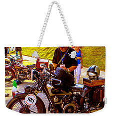Moto Guzzi At Cannonball Motorcycle Weekender Tote Bag