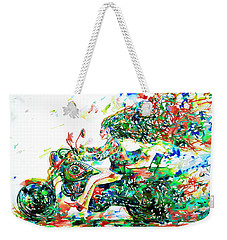 Motor Demon Running Fast Weekender Tote Bag by Fabrizio Cassetta