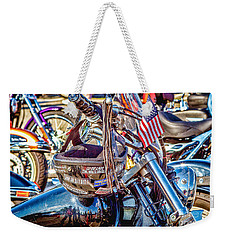 Weekender Tote Bag featuring the photograph Motorcycle Helmet And Flag by Eleanor Abramson