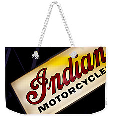 Motorcycle Sign Weekender Tote Bag by Art Block Collections