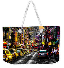 Weekender Tote Bag featuring the photograph Mott Street by Chris Lord