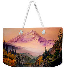 Weekender Tote Bag featuring the painting Mount Baker Morning by Sherry Shipley