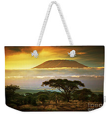 Mount Kilimanjaro Savanna In Amboseli Kenya Weekender Tote Bag