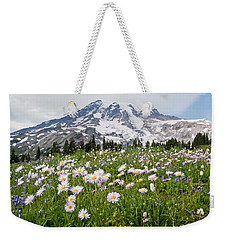 Mount Rainier And A Meadow Of Aster Weekender Tote Bag