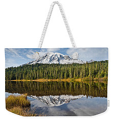 Weekender Tote Bag featuring the photograph Mount Rainier And Reflection Lakes In The Fall by Jeff Goulden