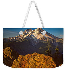 Weekender Tote Bag featuring the photograph Mount Rainier At Sunset With Big Boulders In Foreground by Jeff Goulden