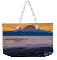 Mount Rainier Sunrise Mood Weekender Tote Bag by Mike Reid
