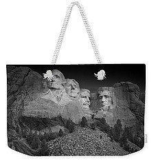 Mount Rushmore South Dakota Dawn  B W Weekender Tote Bag by Steve Gadomski