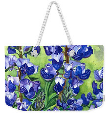 Weekender Tote Bag featuring the painting Mountain Blues Lupine Study by Barbara Jewell