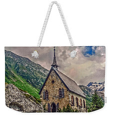 Weekender Tote Bag featuring the photograph Mountain Chapel by Hanny Heim