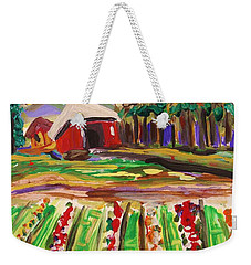Weekender Tote Bag featuring the painting Mountain Farm by Mary Carol Williams