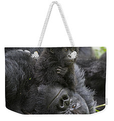 Mountain Gorilla Baby Playing Weekender Tote Bag by Suzi  Eszterhas