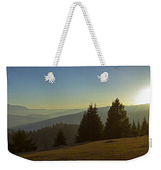 Mountain Panorama At Sunset With Beautiful Sun Glare Weekender Tote Bag