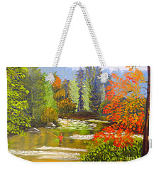 Weekender Tote Bag featuring the painting Mountain Stream by Pamela  Meredith